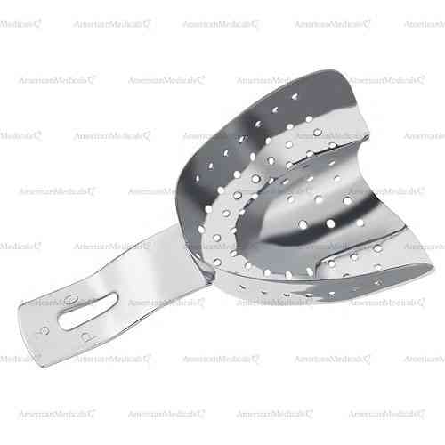 perforated impression tray for partially toothed upper jaws